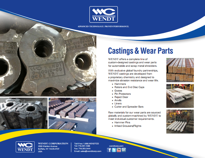 Shredder Castings & Wear Parts | WENDT CORPORATION