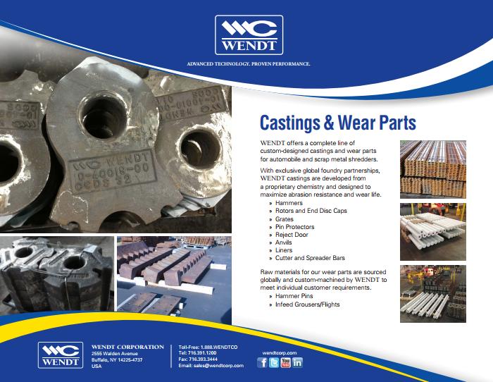 Shredder Castings & Wear Parts | WENDT CORPORATION